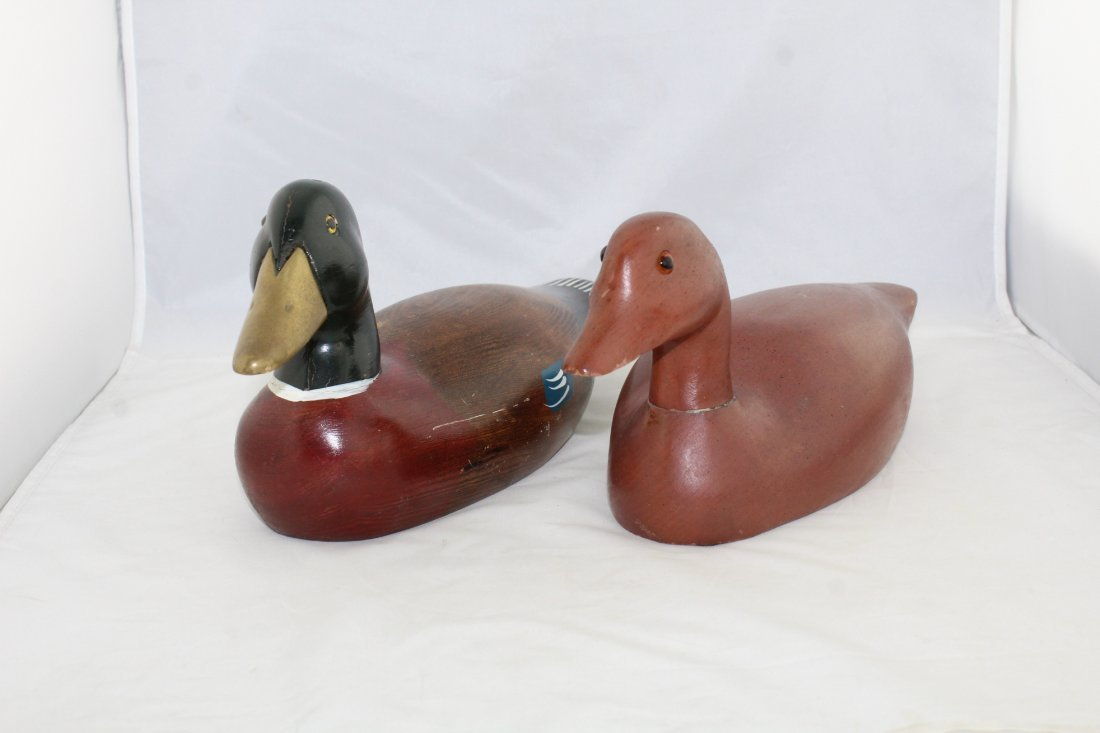 Lot Of 2 Vintage Hand Carved Painted Wood Duck Decoys Oct 12 2018
