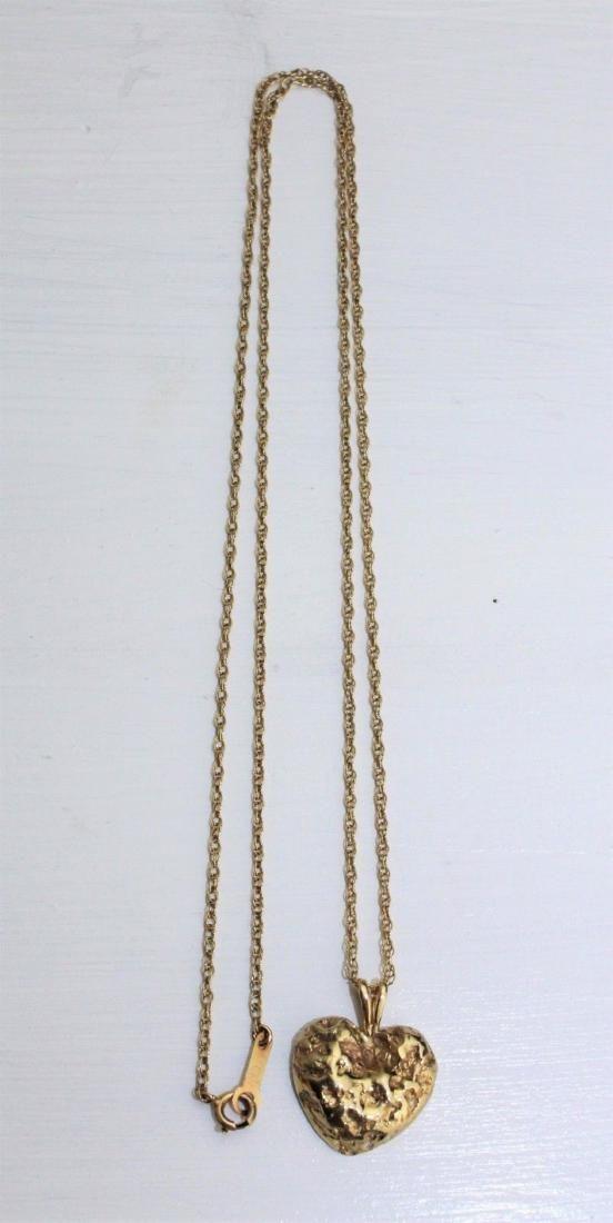 "14K Gold Heart Nugget Pendant & 10K 20"" Necklace 6.5 g"