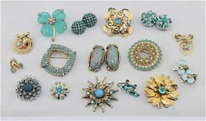 Vintage Blue Rhinestone Brooch & Earrings Lot