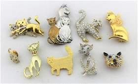 Cat Pins Brooch Lot Some Signed Birman, Napier