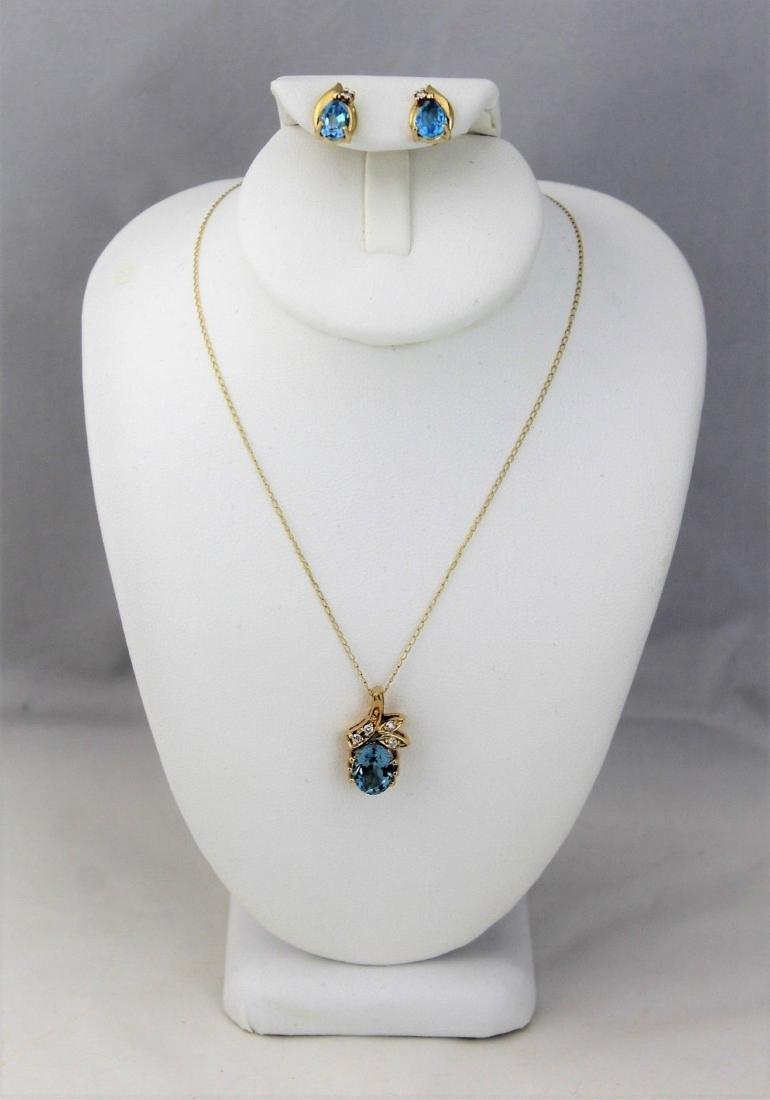 14k Gold Topaz Diamond Pendant & Earrings 10k Necklace