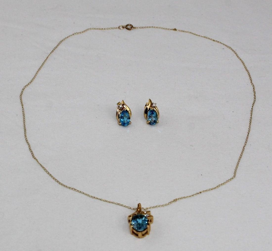 14k Gold Topaz Diamond Pendant & Earrings 10k Necklace - 2