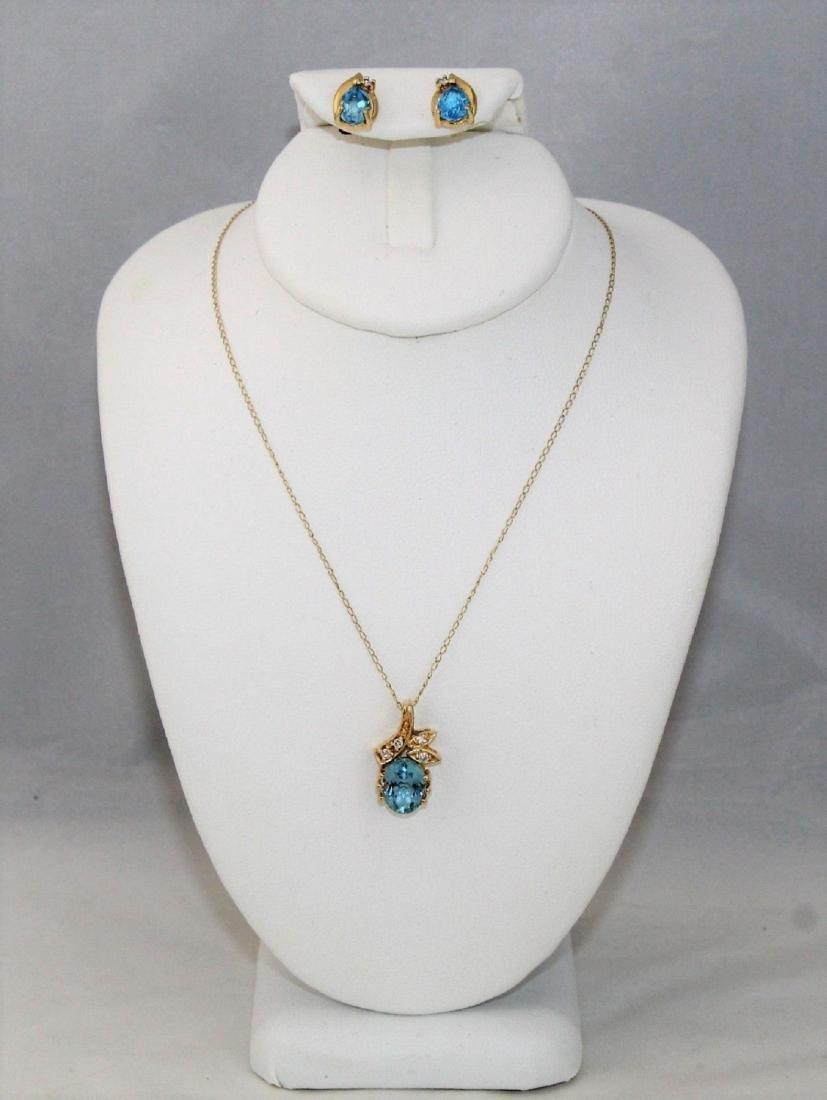 14k Gold Topaz Diamond Pendant & Earrings 10k Necklace - 3