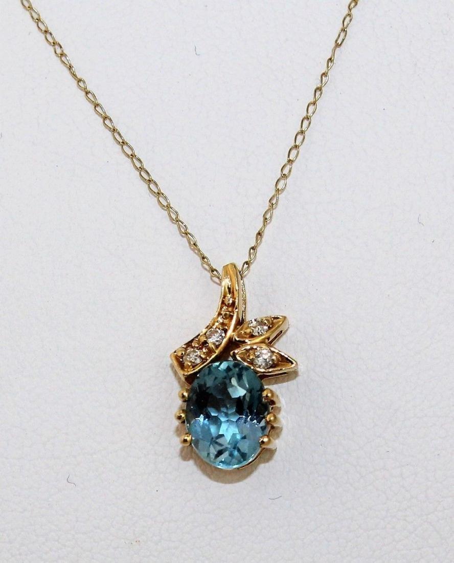 14k Gold Topaz Diamond Pendant & Earrings 10k Necklace - 4