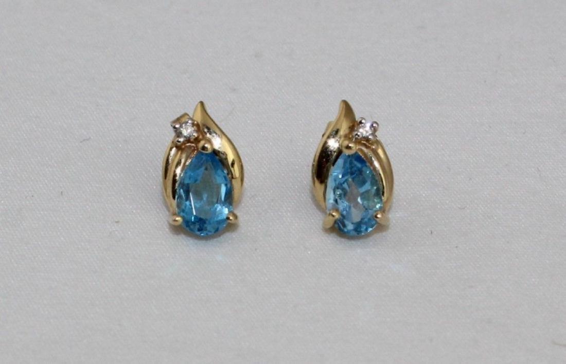 14k Gold Topaz Diamond Pendant & Earrings 10k Necklace - 5