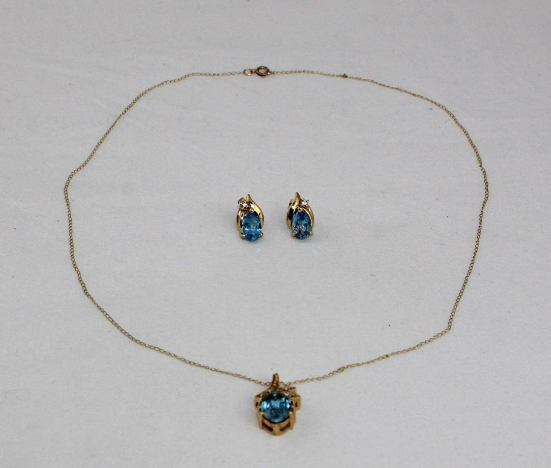 14k Gold Topaz Diamond Pendant & Earrings 10k Necklace - 6