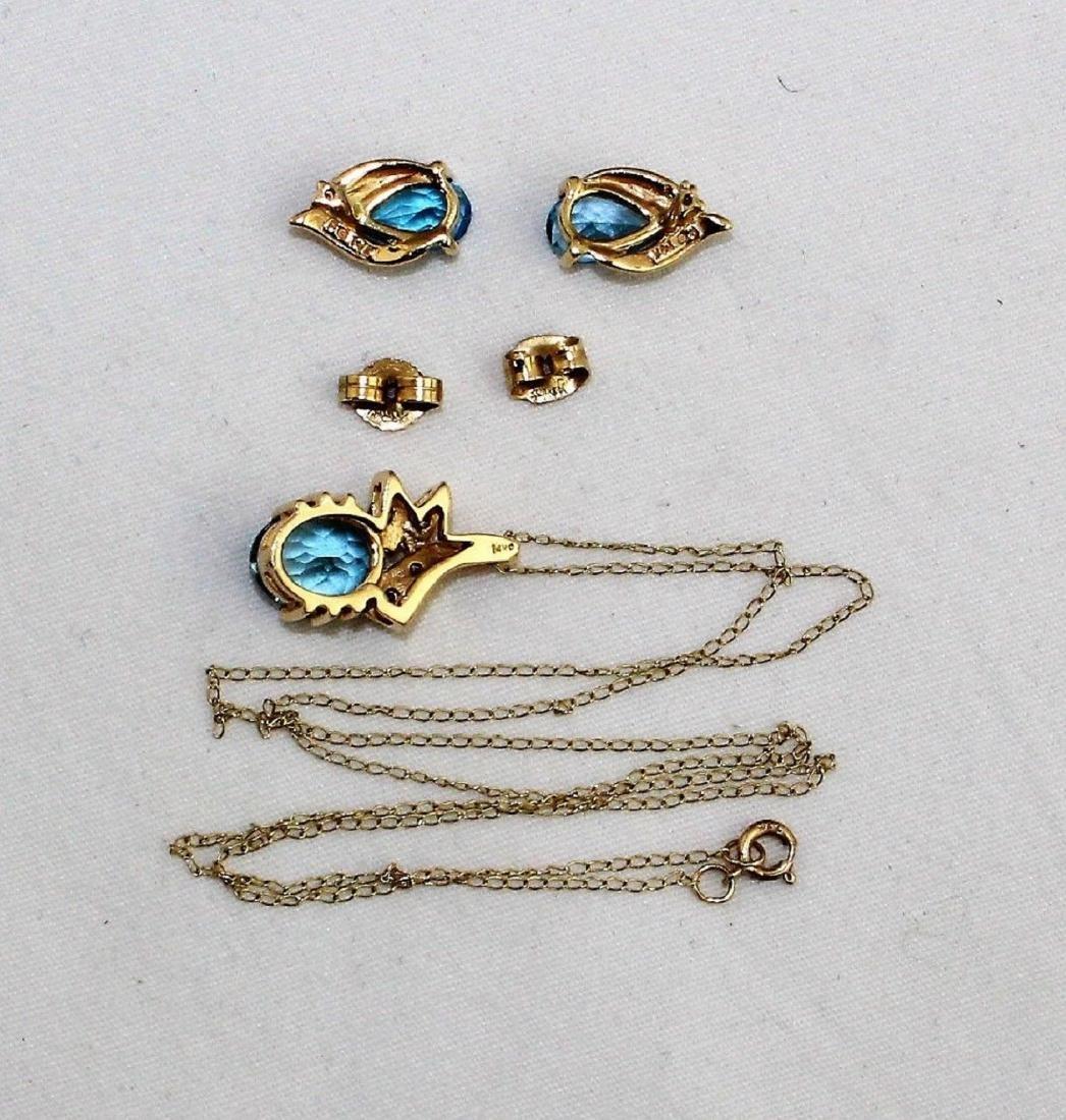 14k Gold Topaz Diamond Pendant & Earrings 10k Necklace - 7