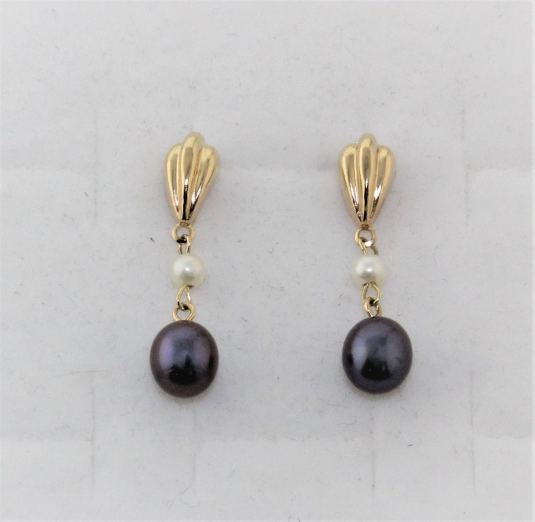 14K Yellow Gold Pearl Stud Dangling Earrings