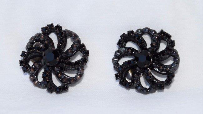 GIORGIO ARMANI Black Jet Onyx Clip On Earrings