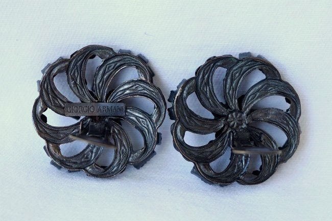 GIORGIO ARMANI Black Jet Onyx Clip On Earrings - 2