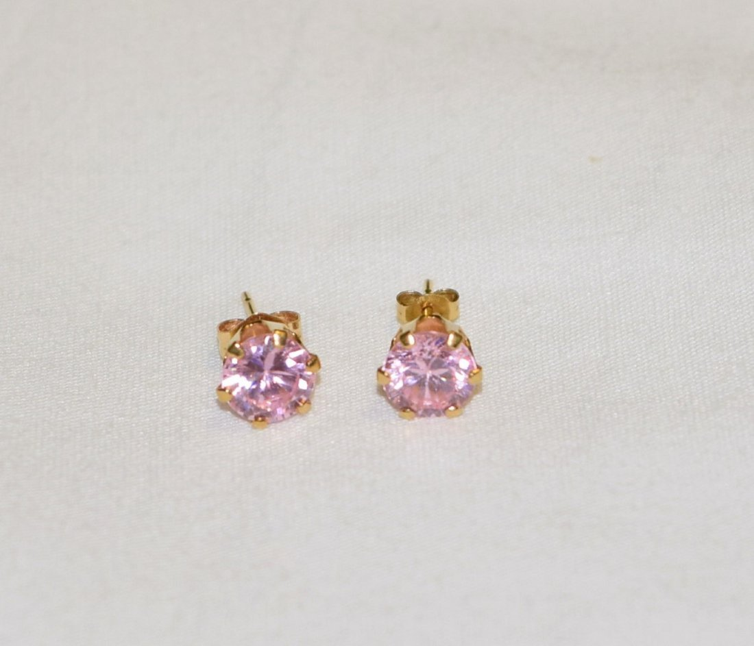 14 K Gold Pink Tourmaline Pierced Earrings 1.7 TCW