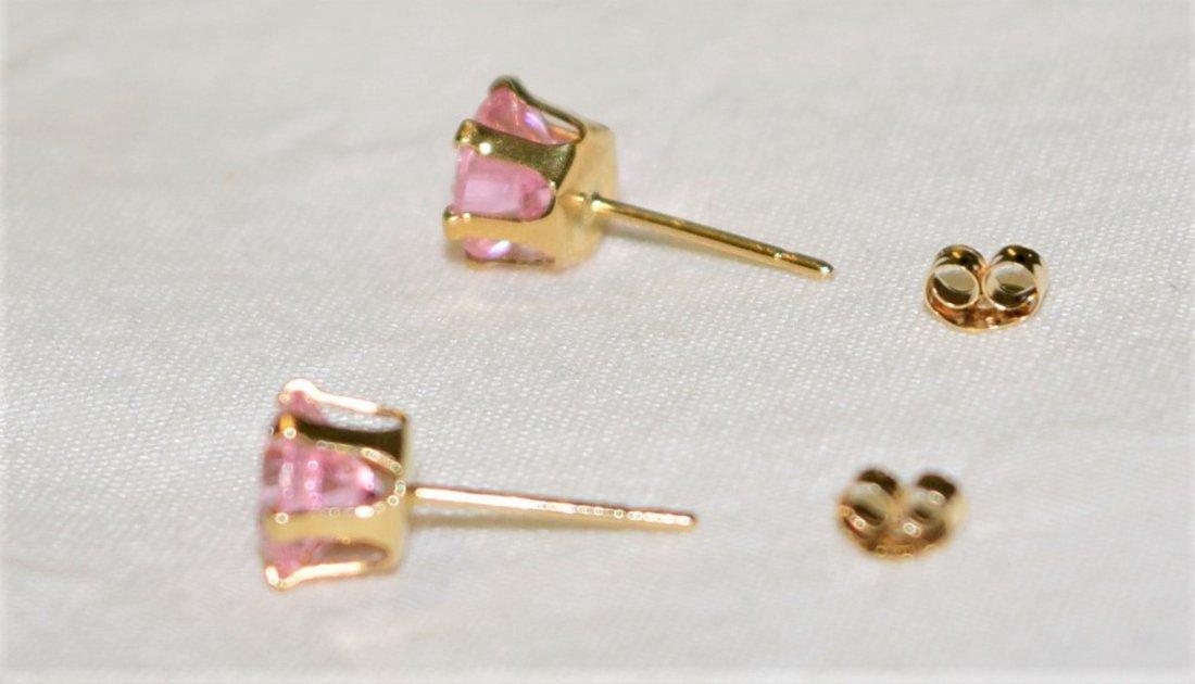 14 K Gold Pink Tourmaline Pierced Earrings 1.7 TCW - 2