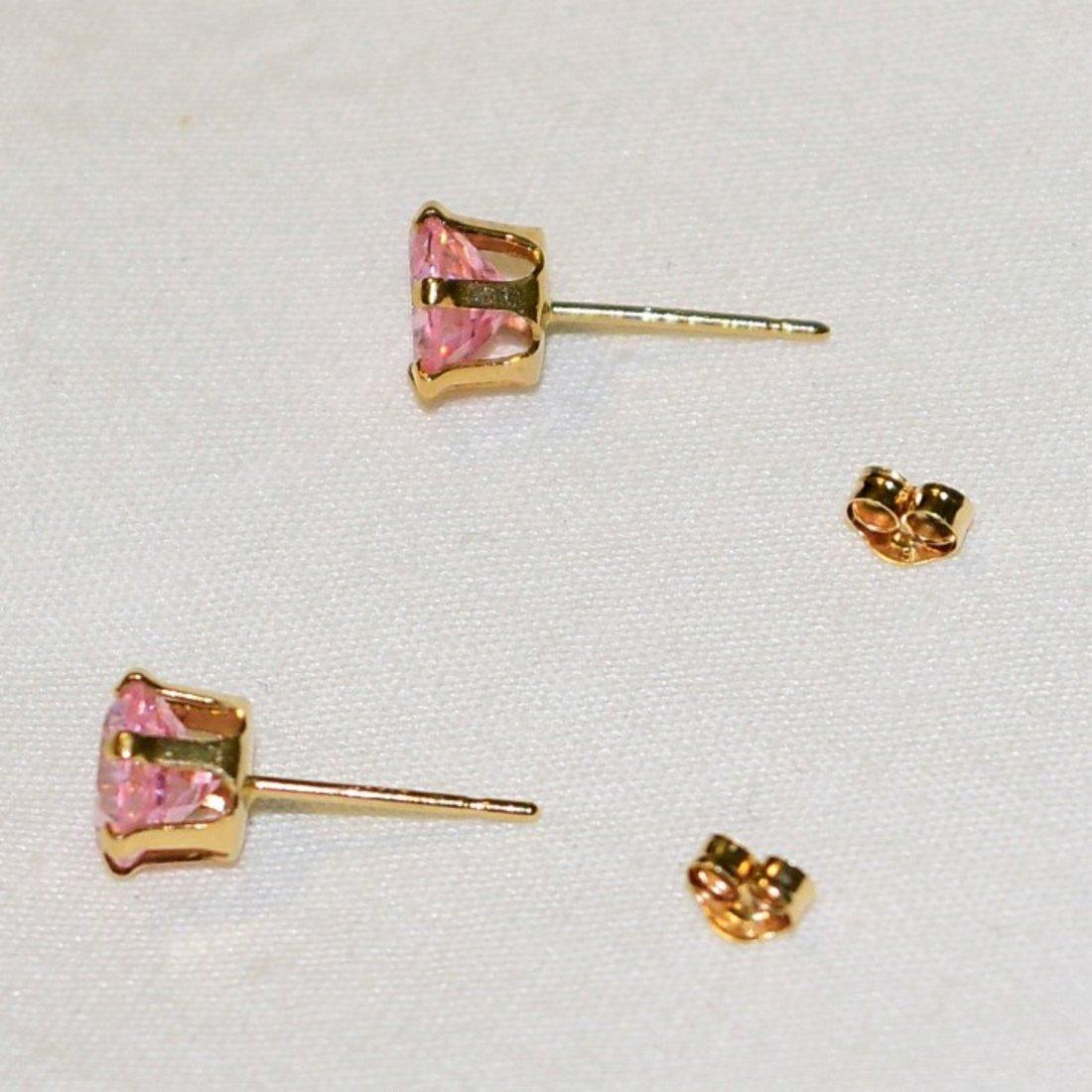 14 K Gold Pink Tourmaline Pierced Earrings 1.7 TCW - 3