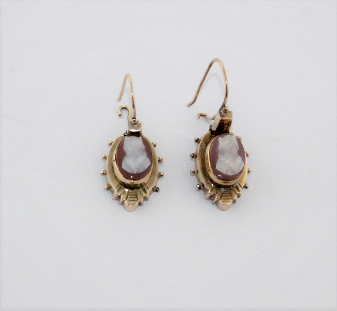 Victorian Carved Shell Cameo Gold Wire Hook Earrings