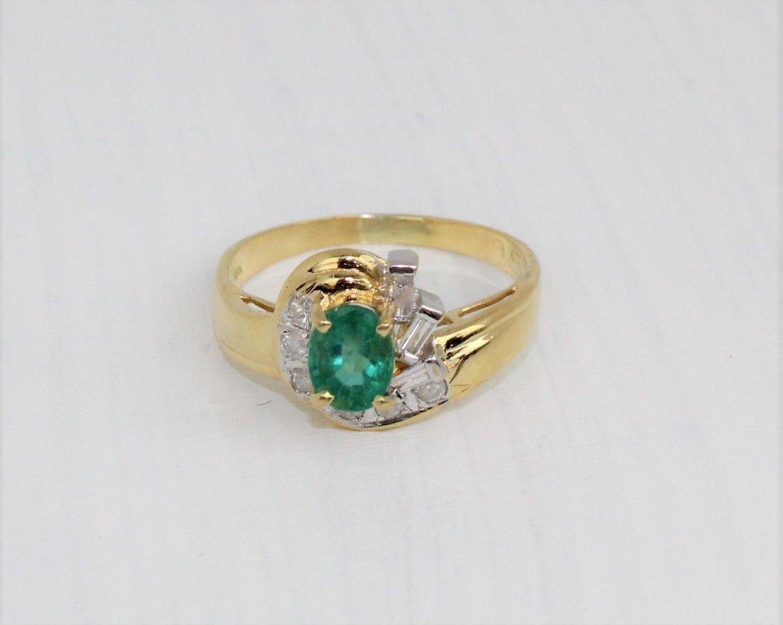 Emerald Diamond 18k Gold Ring 1.15 TCW Size 7 3/4