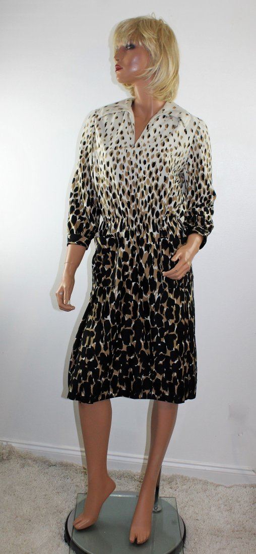 Vintage 60's Helen Bass Animal Print Dress Size M