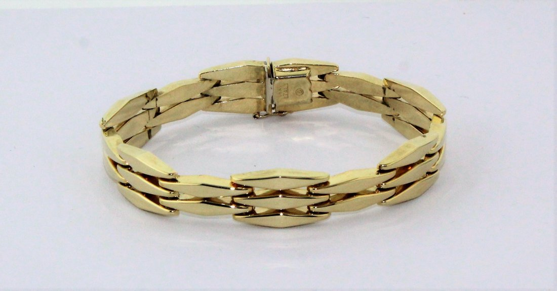 14k Yellow Gold Italy Link Bracelet 15 Grams Signed B - 3
