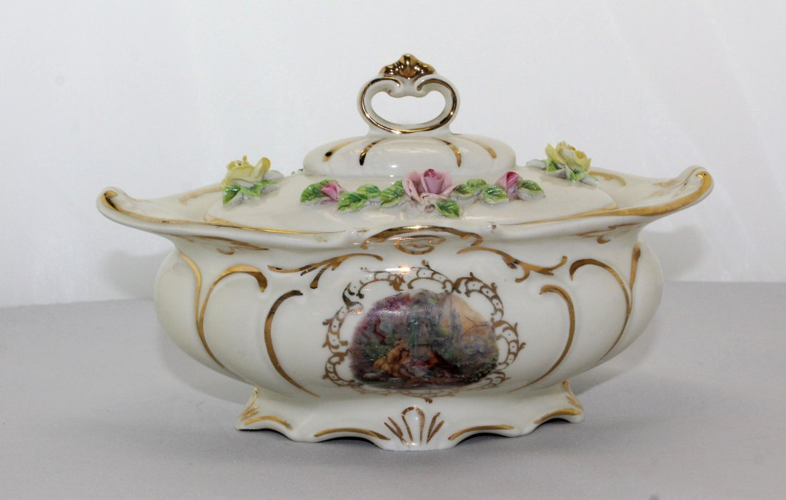 Vintage Dresden Porcelain  Bowl W/ Lid & Candle Holder - 2