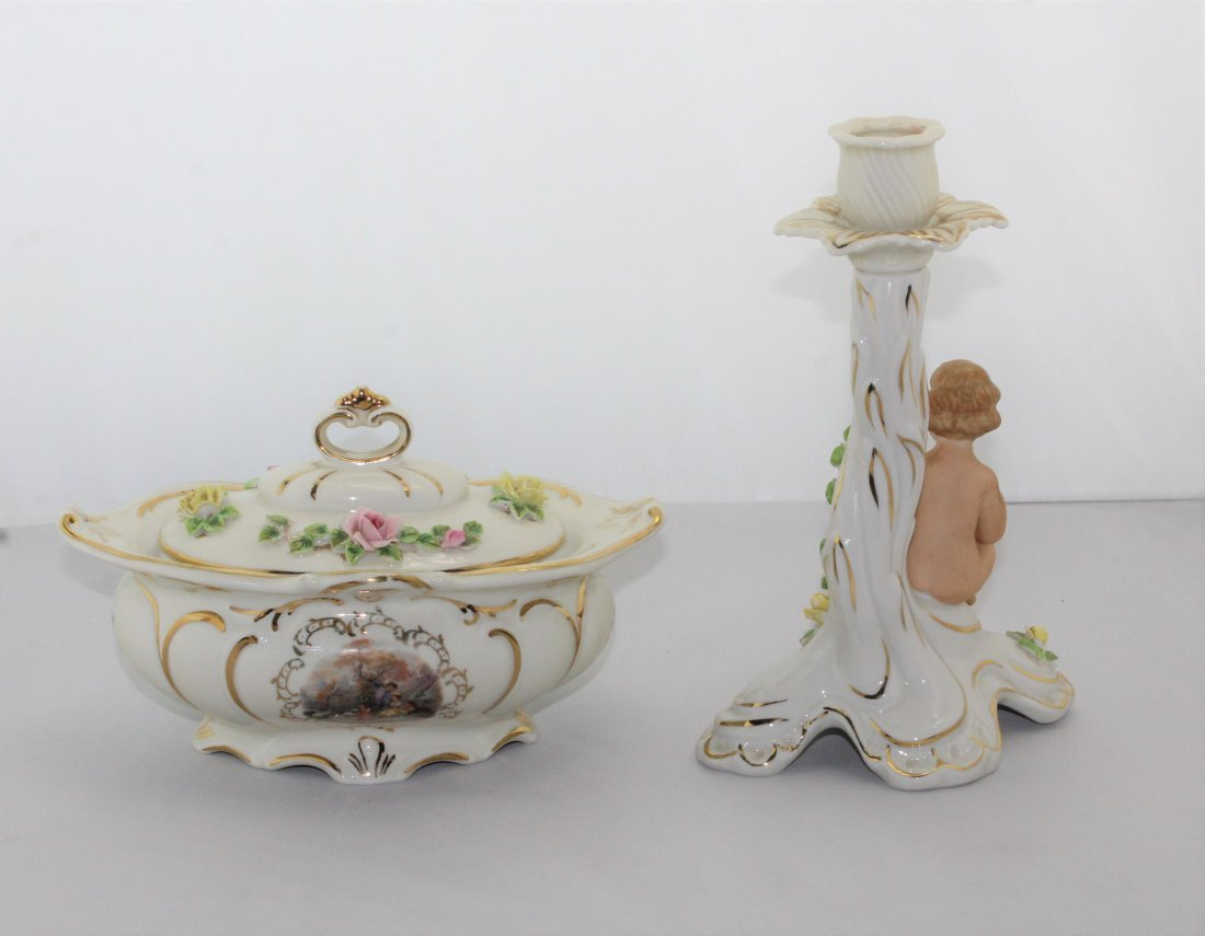 Vintage Dresden Porcelain  Bowl W/ Lid & Candle Holder - 4