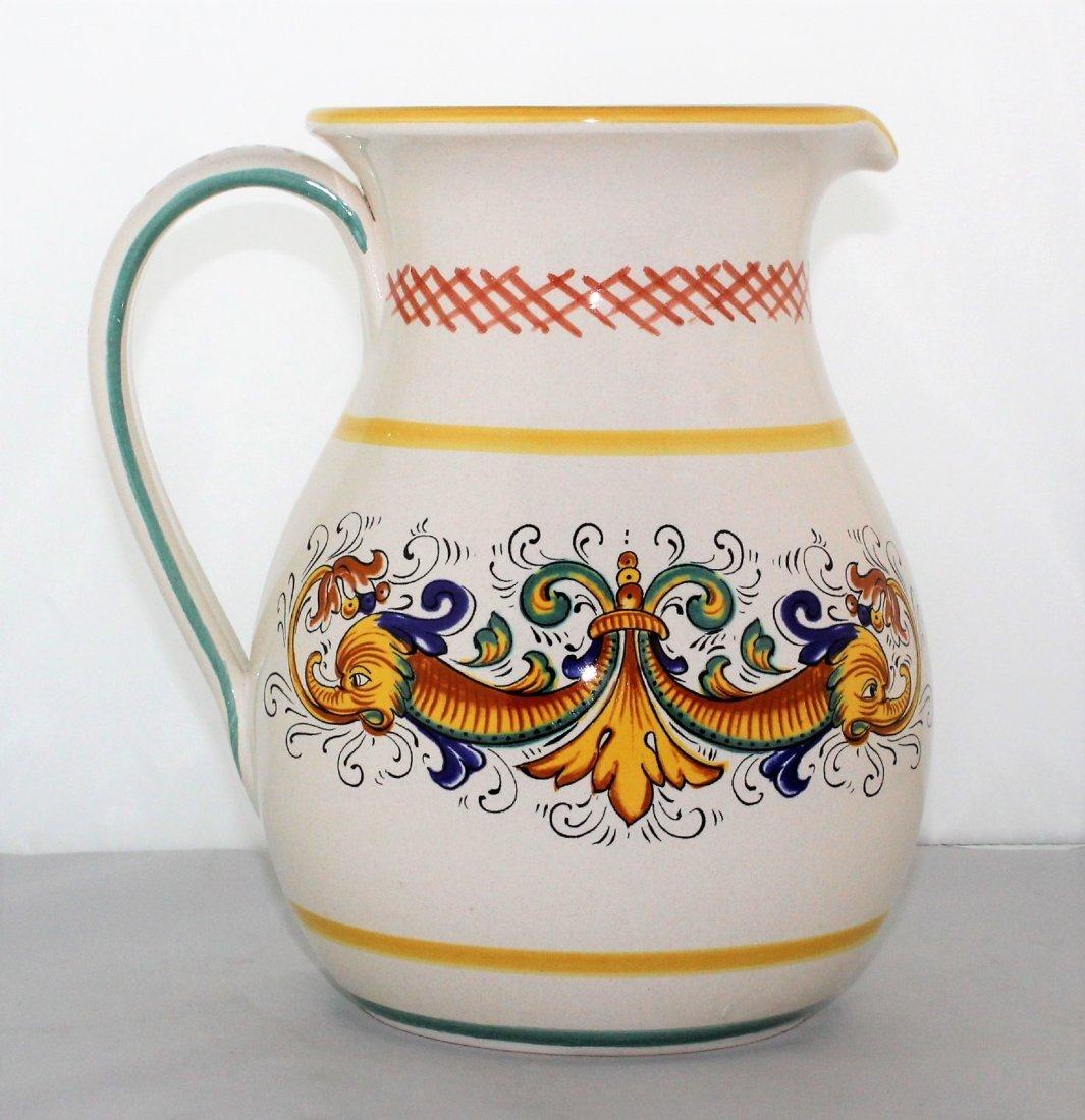 "Italian Pottery 8 1/2"" Pitcher by Ceramica Nova Deruta - 2"