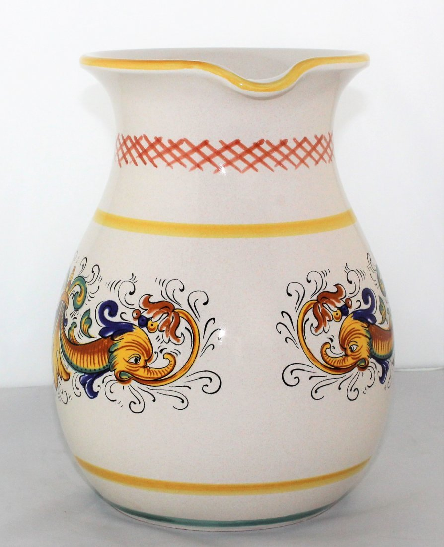 "Italian Pottery 8 1/2"" Pitcher by Ceramica Nova Deruta - 3"