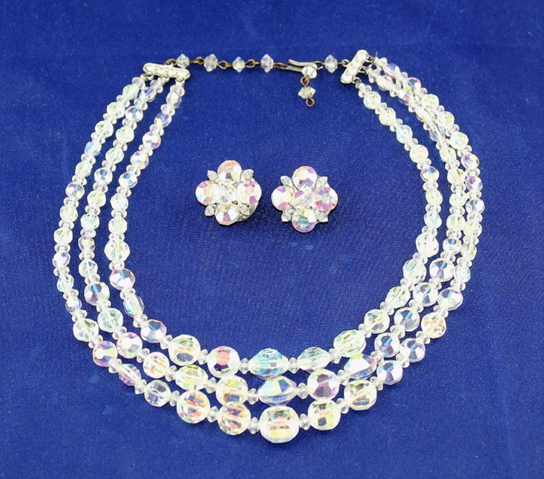 Aurora Borealis Crystal Bead Necklace & Earrings Set