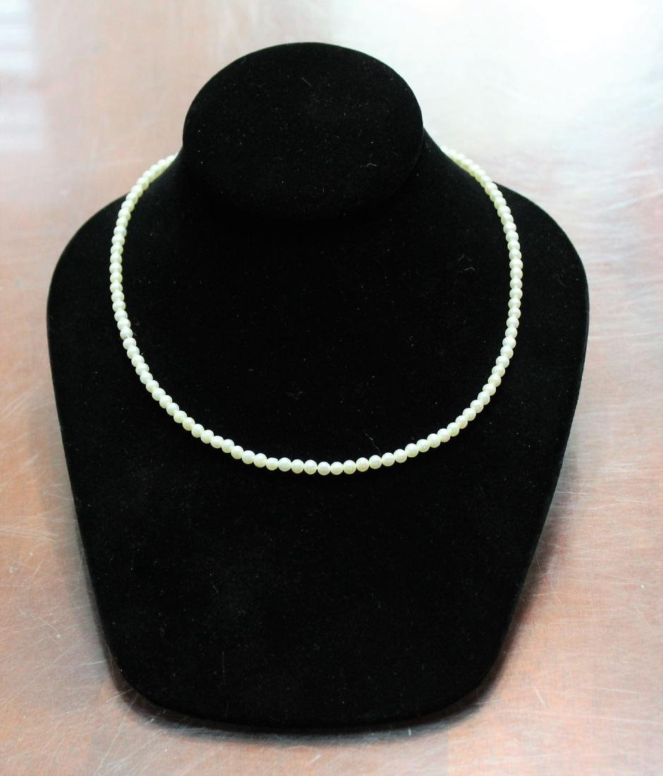 """18"""" Cultured Pearl Necklace 14K Gold Clasp By RTI"""