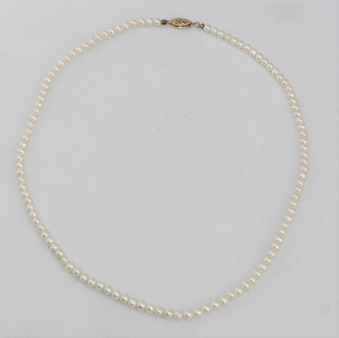 """18"""" Cultured Pearl Necklace 14K Gold Clasp By RTI - 2"""