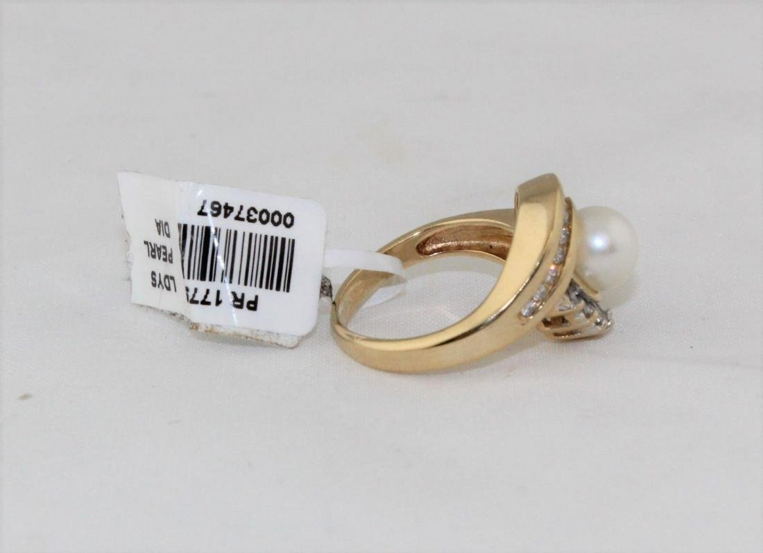 New 14K Yellow Gold Pearl Diamond Ring Size 5.75 - 6