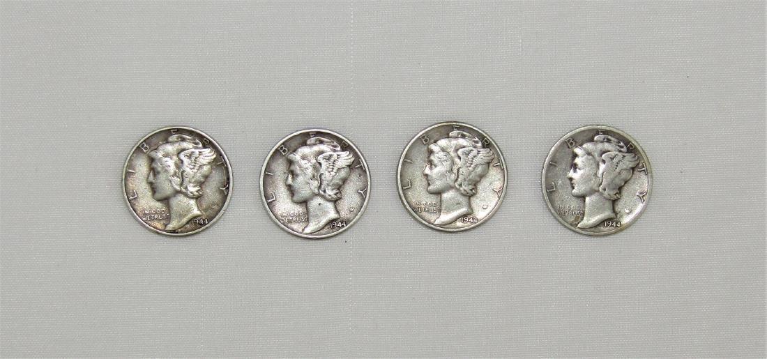 Vintage 1944 US Mercury Dime Lot (4) Philadelphia Mint