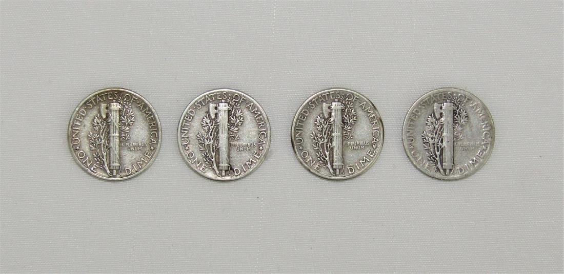Vintage 1944 US Mercury Dime Lot (4) Philadelphia Mint - 2