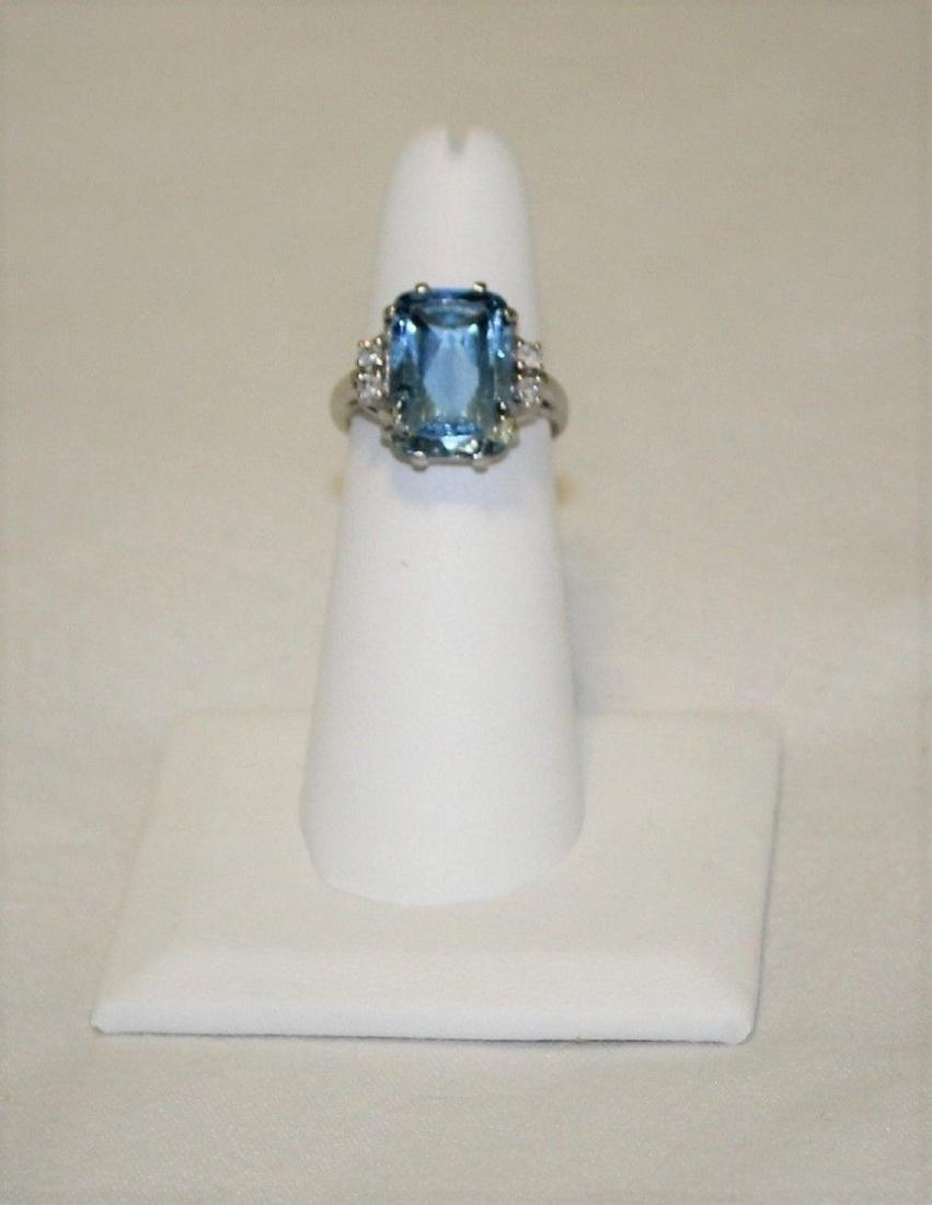 Vintage 10k White Gold Blue Topaz Emerald Cut Ring Sz 6 - 2