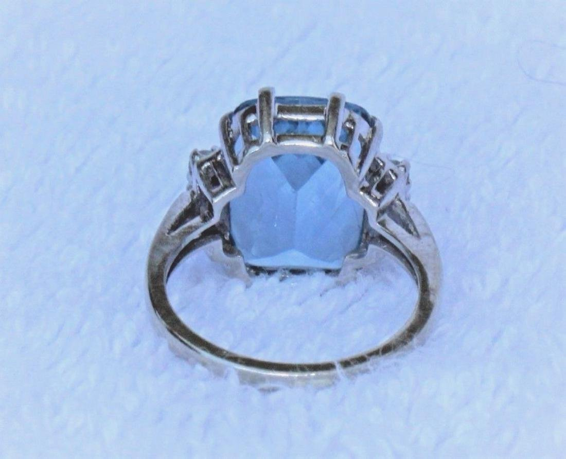 Vintage 10k White Gold Blue Topaz Emerald Cut Ring Sz 6 - 4