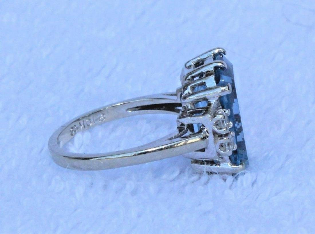 Vintage 10k White Gold Blue Topaz Emerald Cut Ring Sz 6 - 5