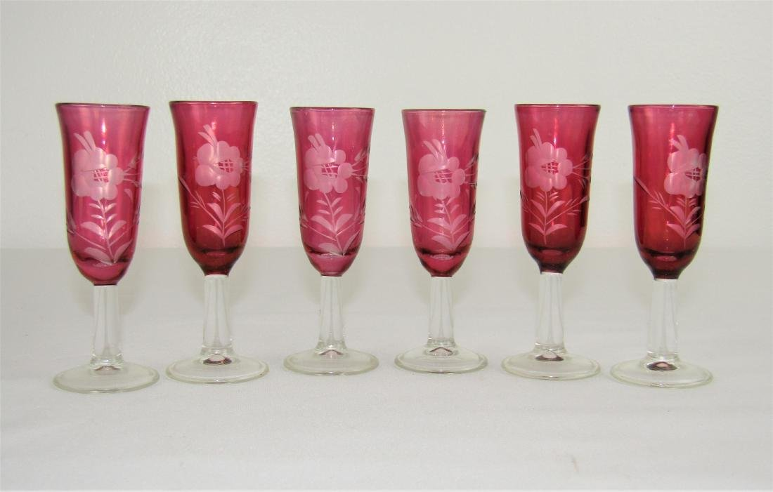 Cranberry Ruby Glass Etched Floral Cordial Glass Set - 2