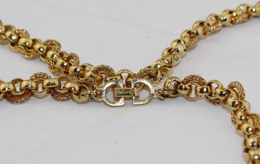 """Authentic CHRISTIAN DIOR Heavy 36"""" Gold Tone Necklace - 2"""