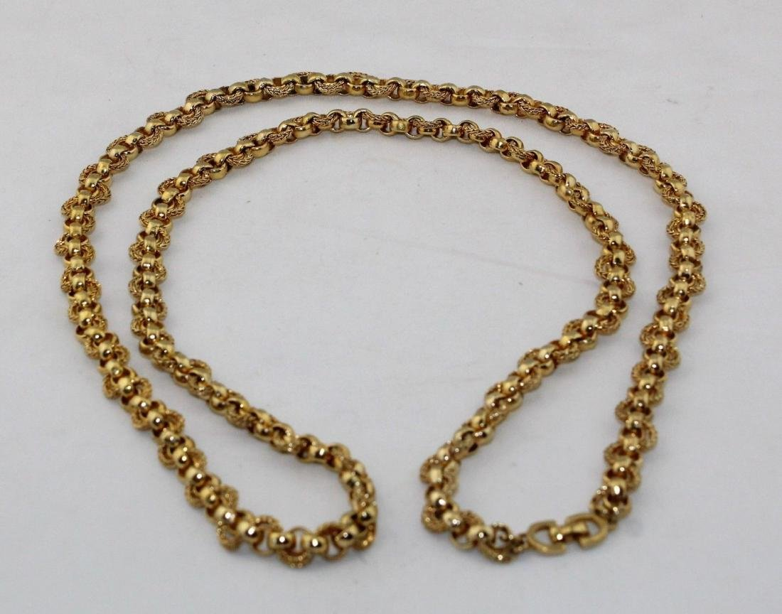 """Authentic CHRISTIAN DIOR Heavy 36"""" Gold Tone Necklace - 6"""