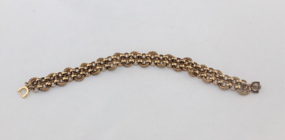 Authentic CHRISTIAN DIOR Heavy Wide Gold Tone Bracelet