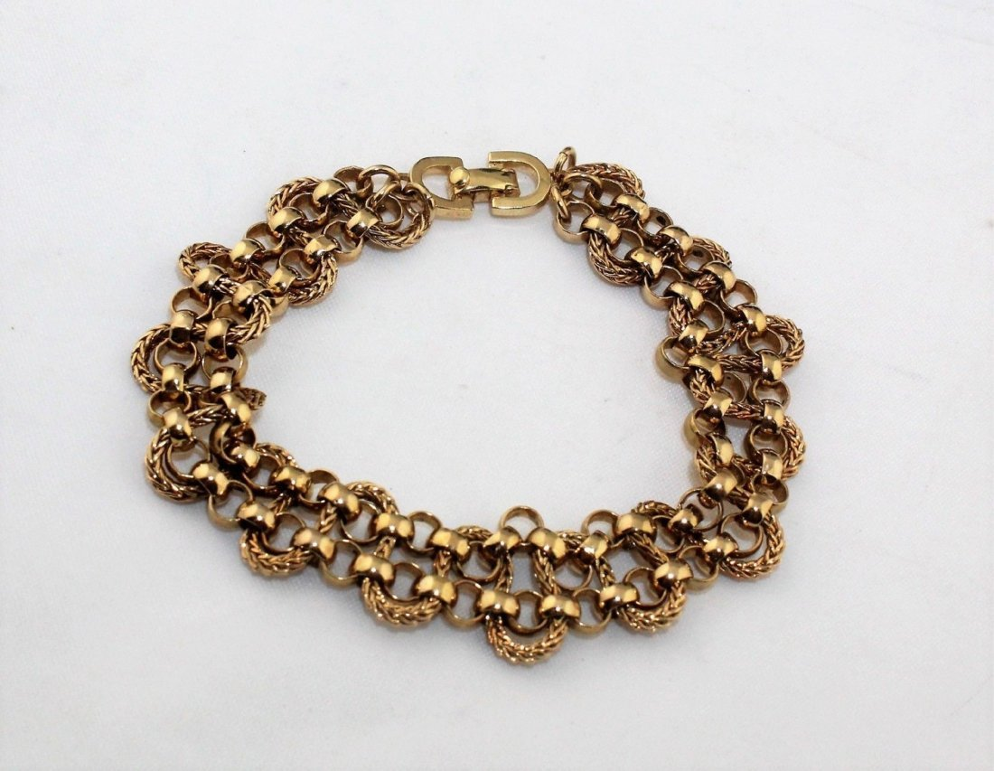 Authentic CHRISTIAN DIOR Heavy Wide Gold Tone Bracelet - 2