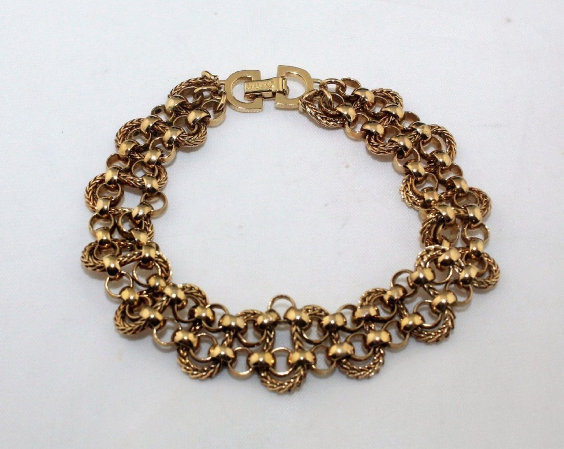 Authentic CHRISTIAN DIOR Heavy Wide Gold Tone Bracelet - 4