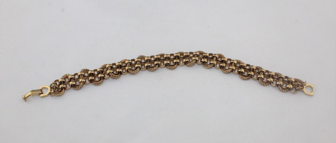 Authentic CHRISTIAN DIOR Heavy Wide Gold Tone Bracelet - 5