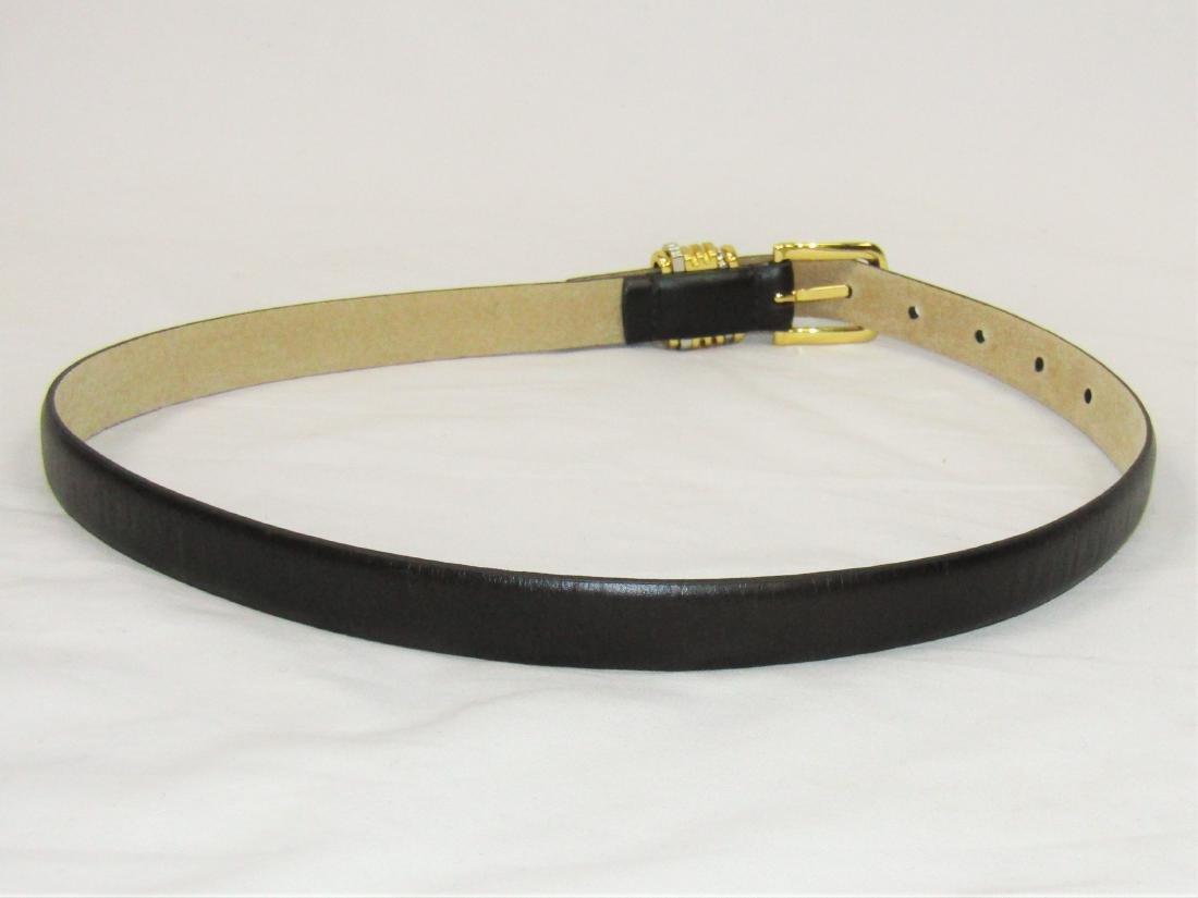 New OSCAR DE LA RENTA Brown Genuine Leather Belt Size S - 4