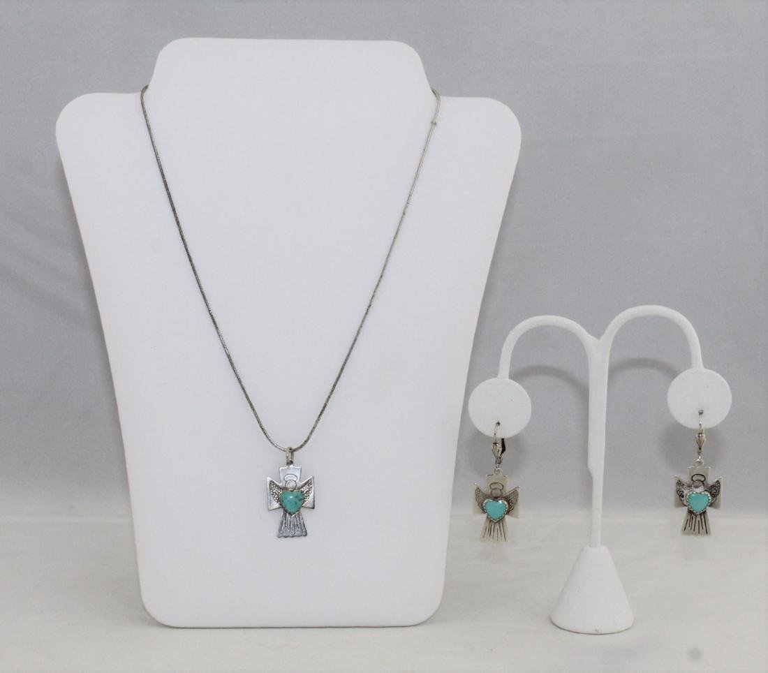 Carolyn Pollack Sterling 925 Necklace Pendant Earring