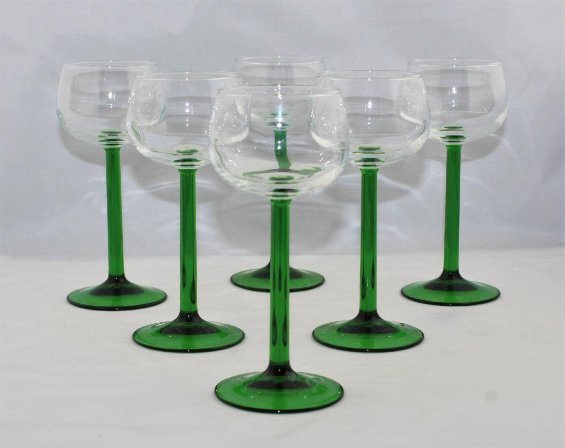 French Wine Glasses With Emerald Green Stems (7)