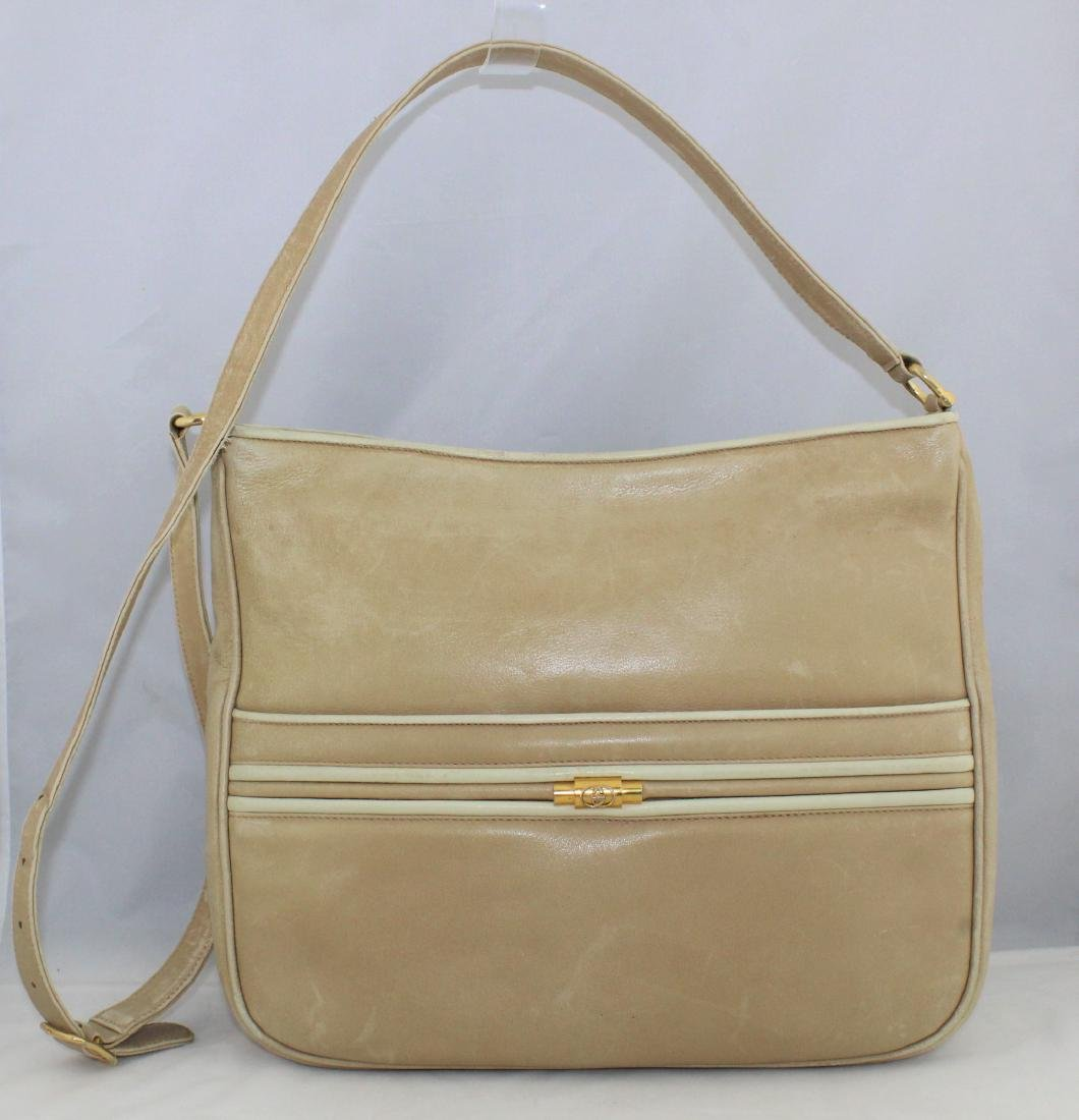 Vintage GUCCI Tan Beige Soft All Leather Shoulder Bag