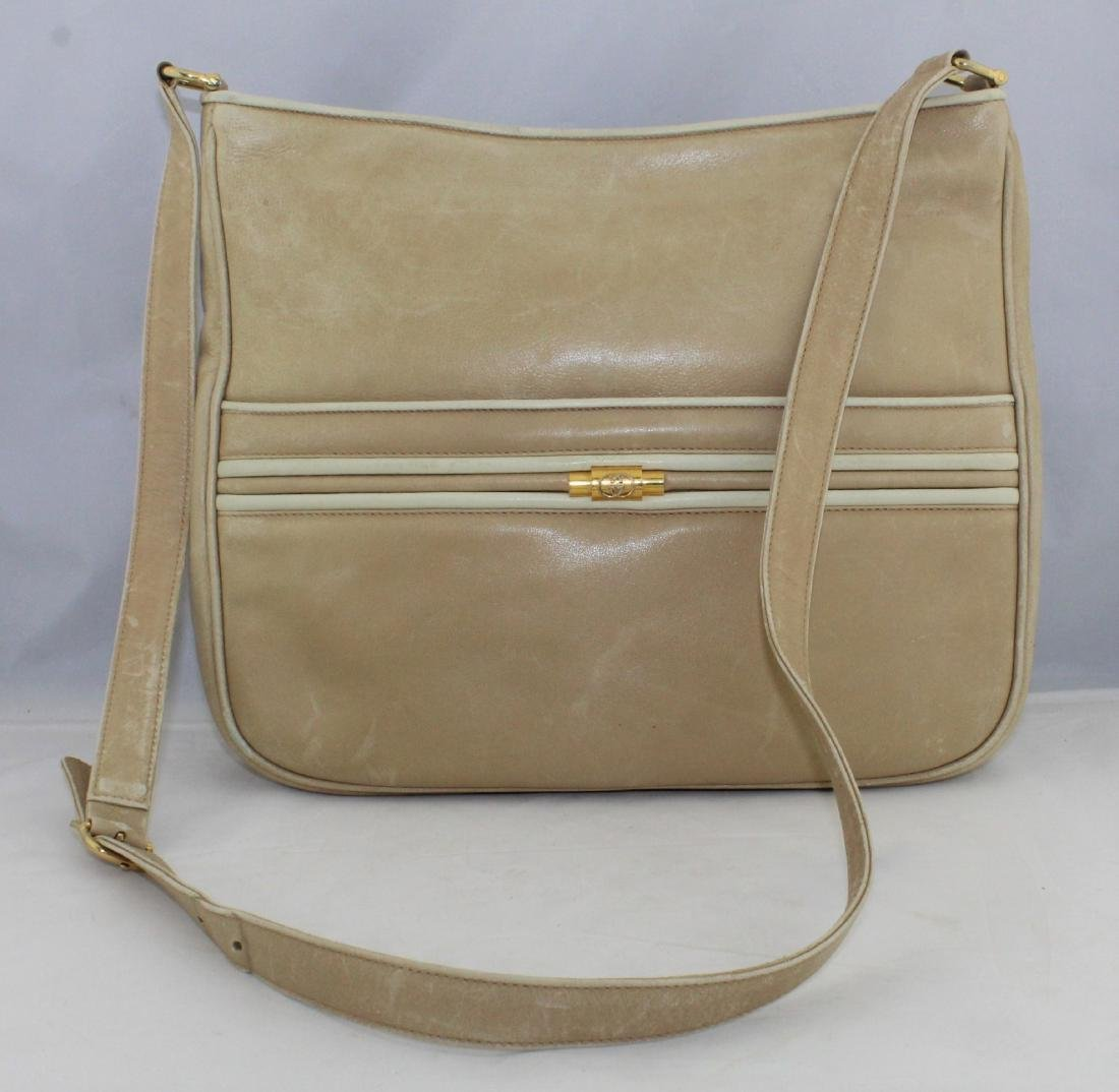 Vintage GUCCI Tan Beige Soft All Leather Shoulder Bag - 2
