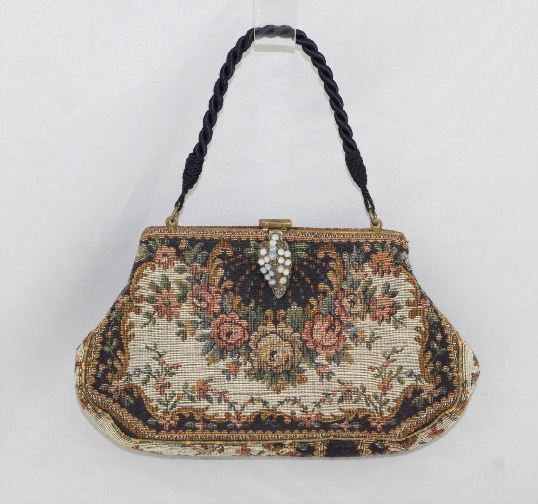 Vintage 20's Tapestry Purse - Beaded Clasp Cord Handle