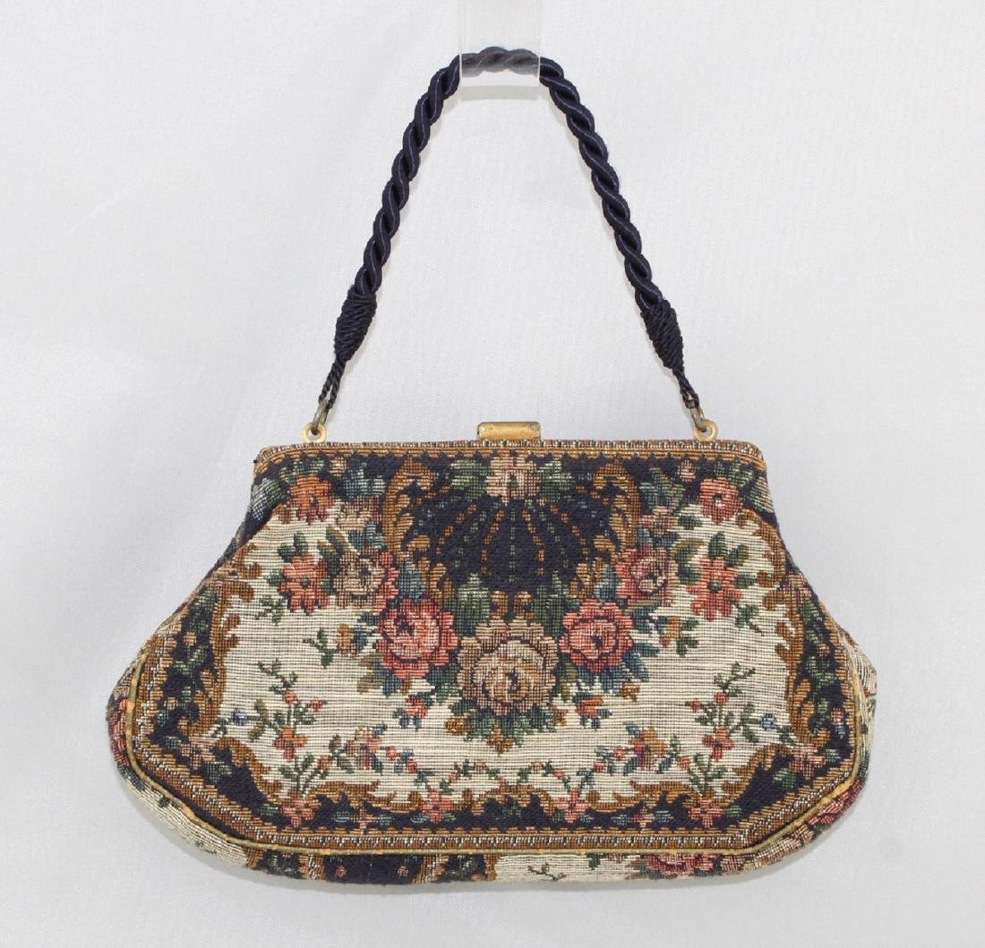 Vintage 20's Tapestry Purse - Beaded Clasp Cord Handle - 2