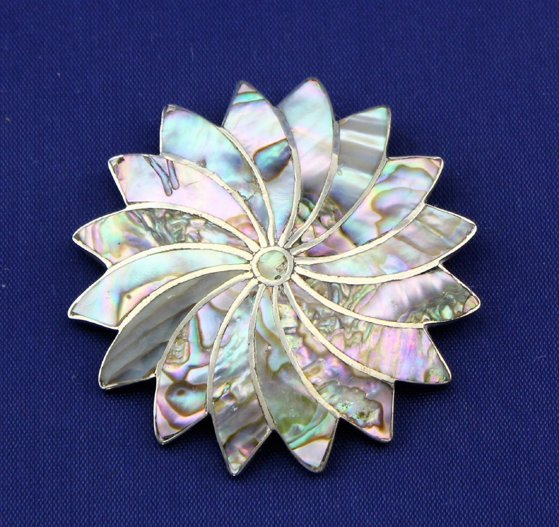 Vintage TAXCO Sterling Silver Abalone Brooch Signed AR