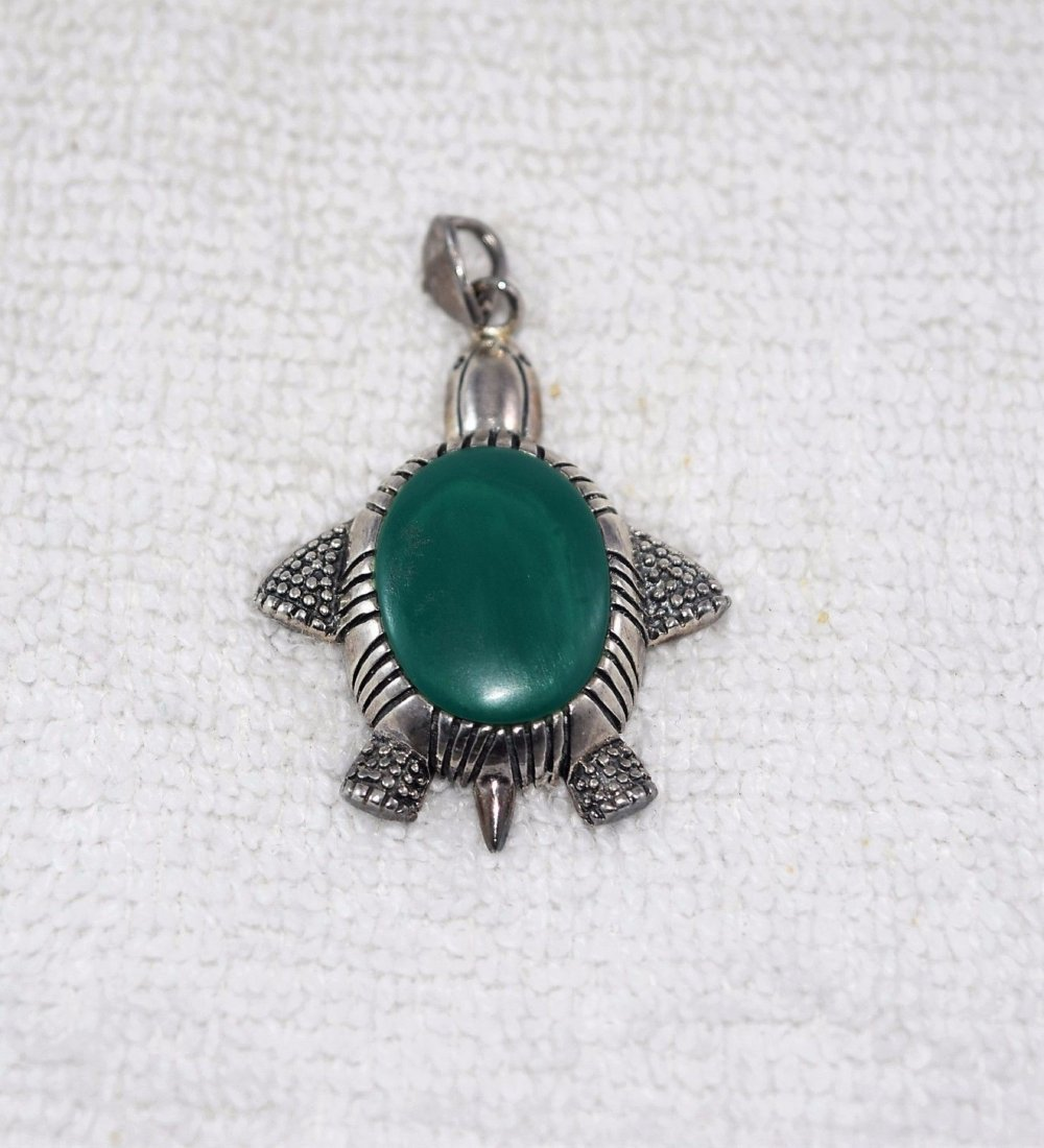 Native American Signed Sterling Silver Turtle Pendant